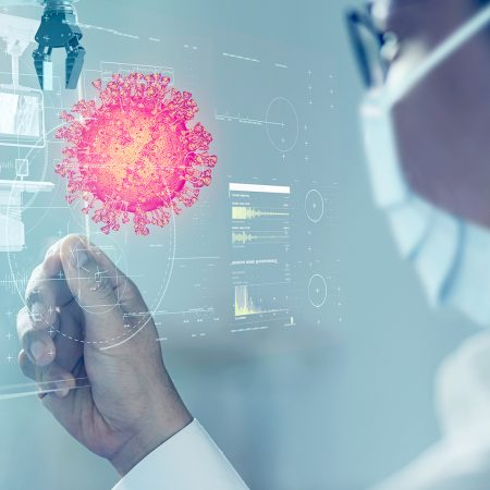 Scientist doctor with mask and mobile technology virus infect detected 3D futuristic virtual reality hologram, COVID Coronavirus intelligence digital medical health care technology.