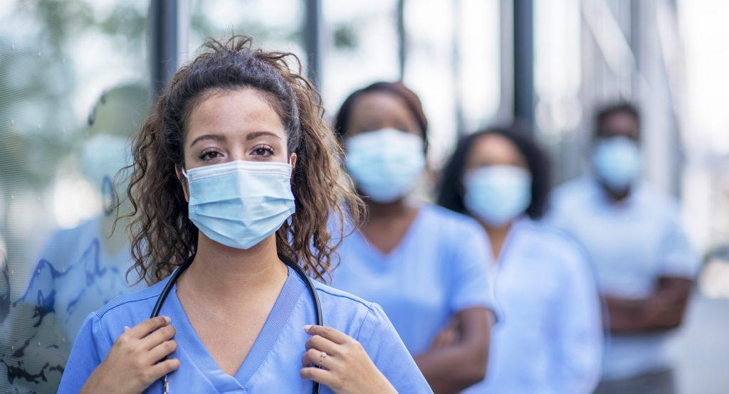 Group of nurses outside