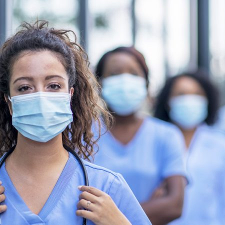 Group of nurses outside